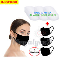 Washable Reusable Face Mask 3 Pack + Mouth Cover Filter 30 Sheets - IN STOCK