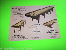CLASSIC SHUFFLEBOARD BY CLASSIC WOOD VINTAGE SHUFFLE TABLE PROMO SALES FLYER