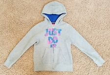 """NIKE """"Just Do It"""" Girl's Gray Zip-Up Hoodie - Size M (10-12) Excellent Condition"""