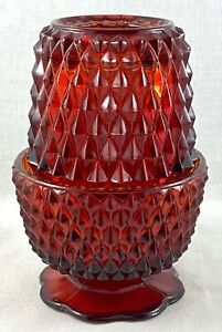 VINTAGE DEPRESSION RED DIAMOND PATTERN GLASS TEA CANDLE HOLDER FAIRY LIGHT LAMP