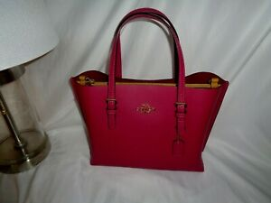 Coach C4084 Leather Mollie 25 Tote Small Satchel Crossbody Bright Violet Cherry