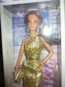 BARBIE LOOK CITY SHINE COLLECTION BRUNETTE BARBIE IN GOLD NRFB!!