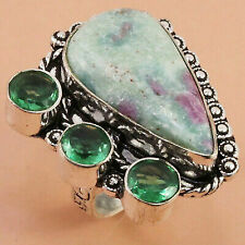 "Gifted Silver Jewelry Ring ""8"" Fuchsite Emerald Gemstone Handmade Ethnic Fashion"
