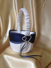 Lovely White/Pale Ivory&Navy& Double Hearts Flower Girl Basket/Wedding Accessory
