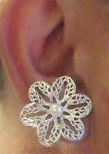 "MAGNETIC 1.25"" Faux White Pearl Filigree Flower Stud Fake Clip Classy Earrings"