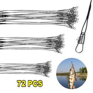 72X Wire Trace Fishing Pike Sea Zander Lure Swivel Link Barrel Hook Line Feeder