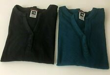 The North Face Two Women's Long Sleeve Henley V-Neck T-Shirts Sz XL Teal Gray