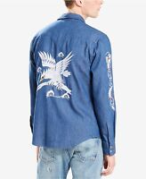 Levi's Men's Barstow Embroidered Blue Denim Western Shirt Size L