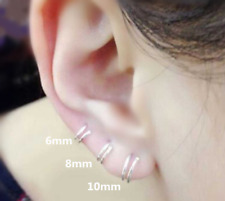 925 Sterling Silver Double Spiral Nose Ring Tragus Helix Ear Cartilage Hoop UK