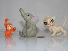 TINY TIGER, MONKEY, ELEPHANT ANIMALS FOR/FITS DOLLHOUSE MATTEL BARBIE/KELLY DOLL