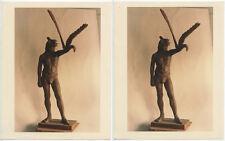 SET OF 2 8X10 PHOTOS - EGYPTIAN? STATUE HUMAN W/ ARM + LARGE BIRD WING