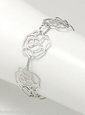 "6-7"" (18cm) Solid Sterling Silver Three Roses Bracelet 4g + 18mm Wide BEAUTY"