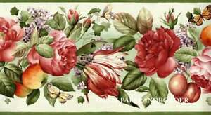 Cabbage Red Roses Fruits and Floral Botanical Wallpaper Border Green, Red