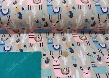 Softshell Lama Jackenstoff beige rosa Kinderstoff wasserabweisend Fleece 25 cm