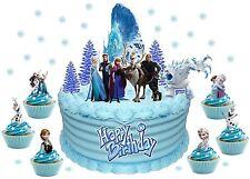EDIBLE FROZEN CASTLE CAKE SCENE 56 pcs WAFER CARD standups cake decoration