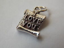 """925 Sterling Silver Scroll """"I Love You"""" Charm"""