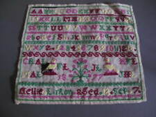 Antique Embroidered Childs Sampler Panel dated 1877