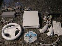 White Nintendo Wii Console Bundle Mario Kart Game + 2 Controllers RVL-001 A+Cond