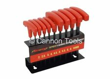10pc T HANDLE HEX / ALLEN KEY WRENCH SET Metric Size 2mm to 10mm On Storage Rack