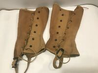 Vintage US Army Military Canvas Leggings Gaiters Spats Field Lace Up