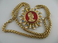Signed CRAFT Warrior Medal Pendant Necklace Gold Tone Faux Pearls Rhinestones