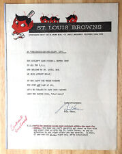 1952 STL BROWNS Letter and Future Contract w/Hall of Fame BILL VEECK signature