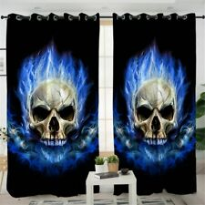 3D Blue Flame Fire Skull Gothic Window Living Room Bedroom Curtains Drapes