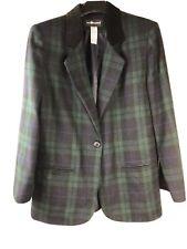 SAG HARBOR Womens 10 Plaid Equestrian Boyfriend Blazer Jacket Wool blend Preppy