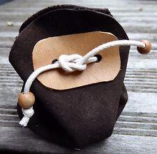 Petite bourse cuir retourné marron rangement petit objet bijoux emballage cadeau
