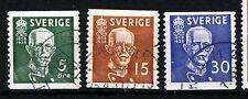 SWEDEN 1938 King Gustaf V Set Imperforate x P12½ SG 208 to SG 210 VFU