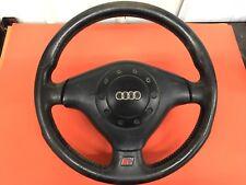 Audi S4 A4 Black leather Sport Steering 3 Spoke Wheel Clock spring Airbag '98-02