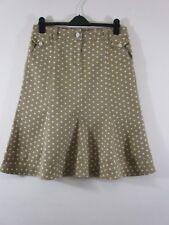 Per Una (M&S) sz 12 Denim skirt.Tan cream polka dots & buttons. Unusual.