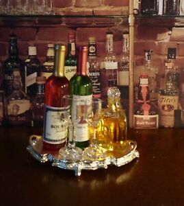 DOLLHOUSE STUNNING SILVER TRAY, 2 WINE BOTTLES, 2 GLASSES, WHISKEY DECANTER
