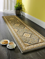 Ottoman Temple Rugs Traditional Carved Wilton Hall Runners Cream / Grey 60X230cm