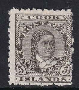 Cook Islands 1902 SG33 5d Olive-Black - Mint no gum