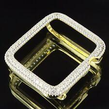 Custom Apple Watch Bezel Case 42mm 14K Gold Finish Sterling Silver Lab Diamonds
