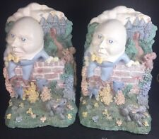 Rare Humpty Dumpty Bookends Sitting On The Wall Figurines 1992 Nursery Rhyme