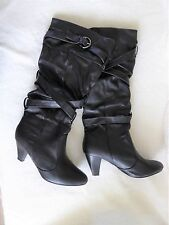 LADIES BOOTS 7: Black Knee High Faux Leather (Sophia) Pul on: Used Once-Ex Cond!
