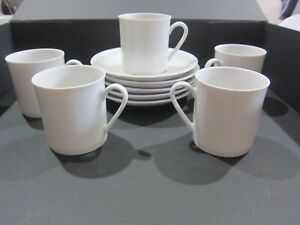 Arzberg plain white coffee/demitasse 5 cups and saucers