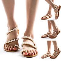 US Women Boho Pearl Toe Ring Sandals Flat Flip Flops Summer Beach Slippers Shoes