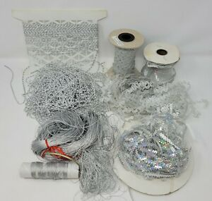 Lot Silver Craft Supplies Ribbons, Trims, Beaded Garland for Christmas Ornaments