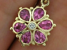 E036 Genuine 9ct 9K Gold NATURAL Pink Tourmaline & Diamond DAISY Flower EARRINGS