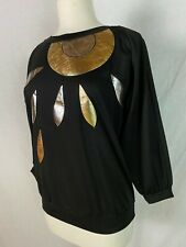 Vtg 80s Tops N Tops Miami Black Pull Over Metallic Applique 3/4 Slv Disco 12 L