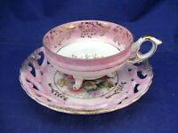 ANTIQUE 3 FOOTED TEA CUP & RETICULATED SAUCER -PINK, GOLD HIGHLIGHTS AND FLORALS