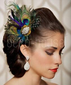 Royal Blue Peacock Feather Fascinator Hair Clip Wedding Party Vintage Headpiece