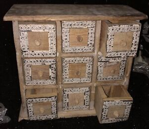 """RUSTIC WOODEN CHEST HANDMADE DRAWERS SEWING BOX STORAGE CABINET 27 CMS 10.5"""""""