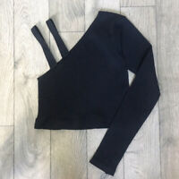 NEW Free People Movement One Sleeve Yoga Crop Top in Black Sz XS/S-M/L $54.24