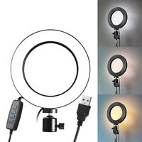 LED Ring Light Dimmable USB 5500K Fill Lamp Photography Phone Video Live PVCA