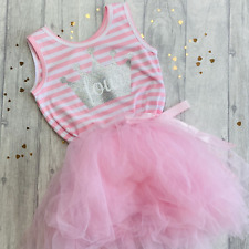 BIRTHDAY PRINCESS PARTY TUTU Pink Sleeveless Silver Crown Number Party Dress