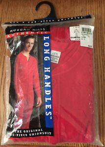 NEW Vintage Men's Large J.E. MORGAN Thermal One-Piece UNIONSUIT Long Johns Red